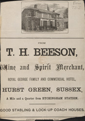 Advert for TH Beeson, wine & spirit merchant